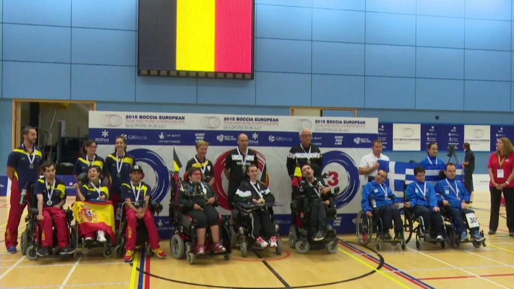 El podio del Campeonato de Europa de Boccia