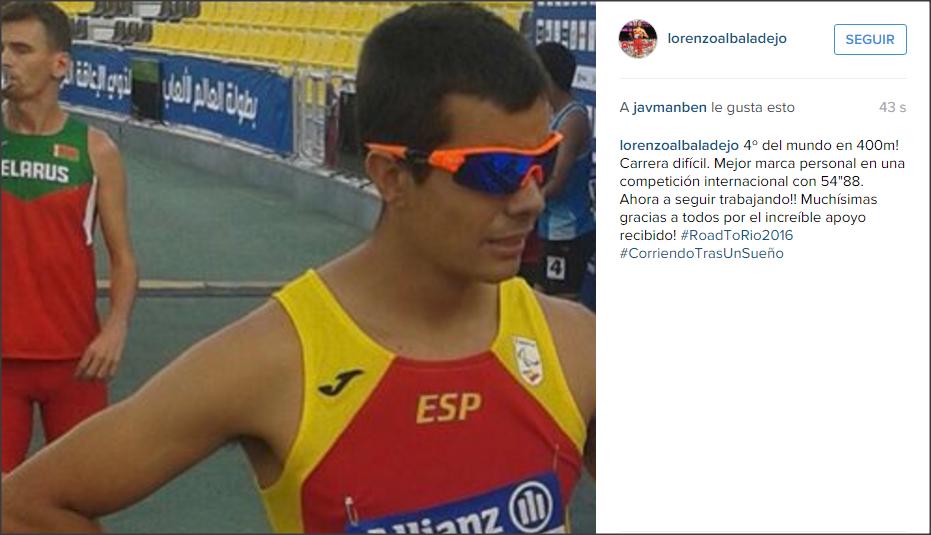 Captura de la cuenta de Instagram de Lorenzo