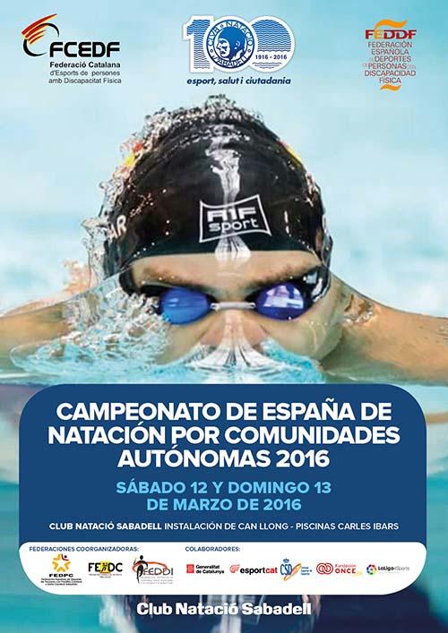 Cartel del Campeonato de España de Natación por Comunidades Autonómas - FEDPC